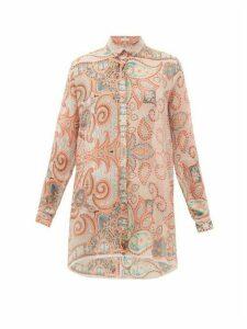 Etro - Altea Paisley-print Silk-georgette Shirt - Womens - Light Pink