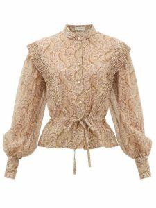 Etro - Gardenia Paisley-print Cotton-blend Blouse - Womens - Beige