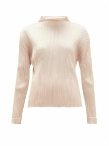 Pleats Please Issey Miyake - Mock-neck Plissé Top - Womens - Light Pink