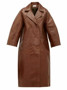 Ganni - Cropped-sleeve Double-breasted Leather Trench Coat - Womens - Brown