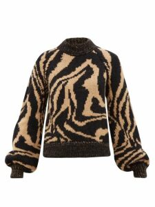 Ganni - Tiger-jacquard Balloon-sleeve Wool-blend Sweater - Womens - Black Multi