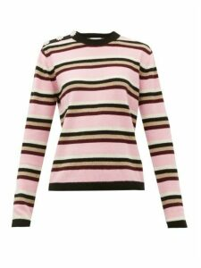 Ganni - Crystal-button Cashmere Sweater - Womens - Pink Multi