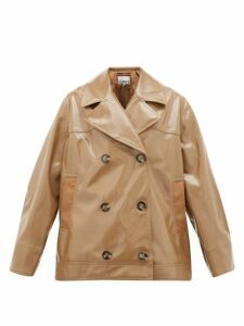 Ganni - Double-breasted Patent Faux-leather Jacket - Womens - Beige