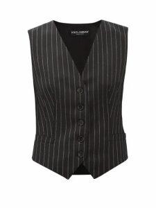 Dolce & Gabbana - Chalk-striped Wool-blend Waistcoat - Womens - Grey Multi