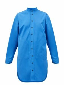 Colville - Curved-hem Cotton Shirt - Womens - Blue