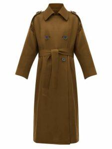 Petar Petrov - Mona Double-breasted Wool-blend Trench Coat - Womens - Khaki