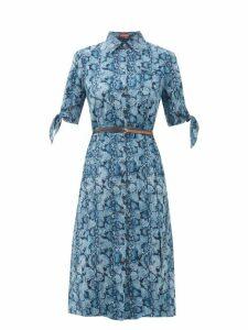 Altuzarra - Narcissa Python-print Silk-crepe Dress - Womens - Blue