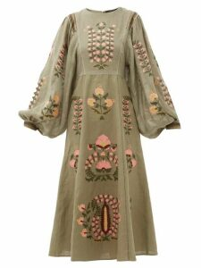 Vita Kin - Patchouli Embroidered-linen Dress - Womens - Green Multi