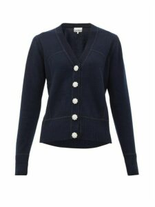 Ganni - Crystal-button Cashmere Cardigan - Womens - Navy