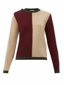 Ganni - Crystal-button Block-colour Cashmere Sweater - Womens - Burgundy Multi