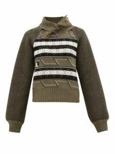 Ganni - Tie-neck Fair Isle Wool-blend Sweater - Womens - Khaki