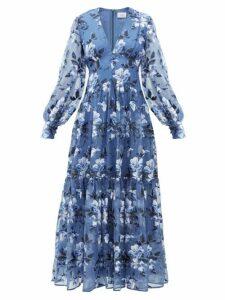Erdem - Tabetha Floral-embroidered Silk-organza Gown - Womens - Blue