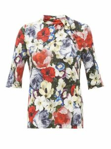 Erdem - Kacey Poppy-print Blouse - Womens - Black Multi