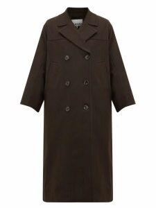 Ganni - Pow Double-breasted Check Twill Coat - Womens - Dark Brown