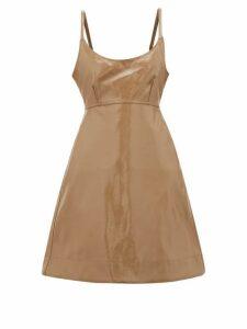Ganni - Tie-back Patent Faux-leather Dress - Womens - Beige