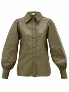 Ganni - Balloon-sleeve Leather Shirt - Womens - Khaki