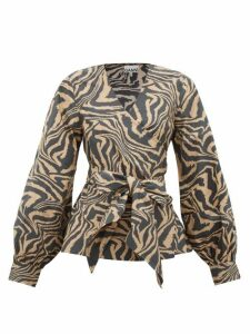 Ganni - Tiger-print Cotton Wrap Top - Womens - Beige