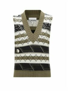 Ganni - Sequin-embellished Wool-blend Tank Top - Womens - Khaki Multi