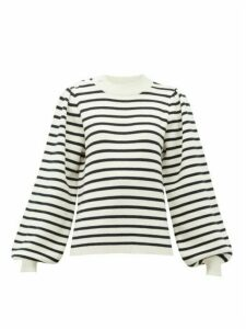 Ganni - Balloon-sleeved Striped Jersey Sweater - Womens - White Multi