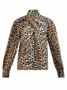 Ganni - Neck-tie Leopard-print Silk-blend Blouse - Womens - Leopard