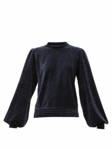 Ganni - Metallic-stripe Cotton-blend Velour Top - Womens - Navy