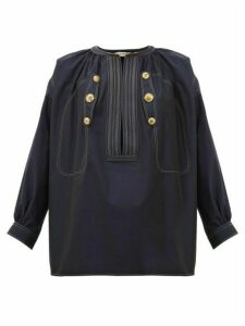 Givenchy - Sailor Cropped-sleeve Cotton Top - Womens - Navy