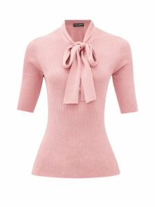 Dolce & Gabbana - Pussy-bow Lurex-knit Ribbed Top - Womens - Pink
