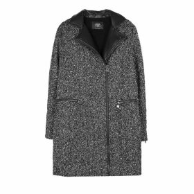 Bouclé Coat with Faux Leather Collar and Pockets