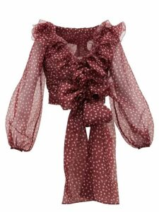 Dolce & Gabbana - Polka Dot Silk-organza Top - Womens - Burgundy Multi