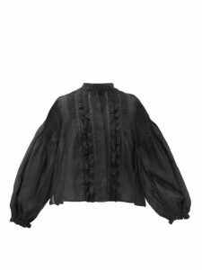 Isabel Marant - Samaly Ruffled Ramie Top - Womens - Black