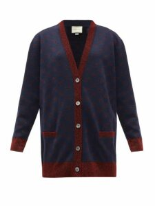 Gucci - GG-jacquard Wool-blend Cardigan - Womens - Blue Multi