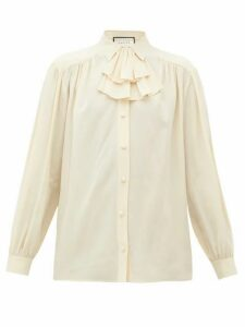 Gucci - Ruffle-neck Silk Blouse - Womens - Ivory