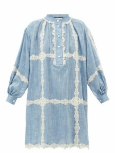 Gucci - GG Lace-trimmed Cotton-chambray Dress - Womens - Blue