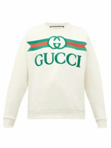 Gucci - Logo-embroidered Loopback Cotton-jersey Sweater - Womens - Beige Multi