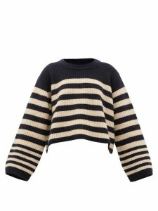 Khaite - Dotty Cropped-hem Striped Cashmere Sweater - Womens - Cream Multi
