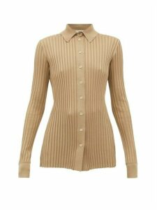 Bottega Veneta - Ribbed-knit Silk Cardigan - Womens - Beige