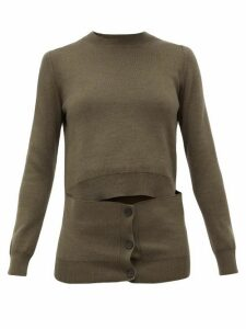 Alexander Mcqueen - Deconstructed Button-panel Wool-blend Sweater - Womens - Khaki