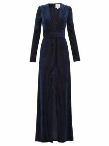 Galvan - Stardust Striped Devoré Velvet Gown - Womens - Navy