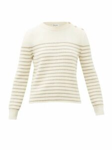 Saint Laurent - Metallic Lurex-striped Sweater - Womens - Ivory