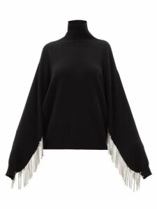 Christopher Kane - Chain-fringed Roll-neck Wool-blend Sweater - Womens - Black