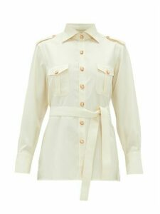 Giuliva Heritage Collection - The Aurora Cameo-button Wool-twill Blouse - Womens - Ivory