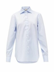 Giuliva Heritage Collection - The Husband Geometric-jacquard Cotton Shirt - Womens - Light Blue