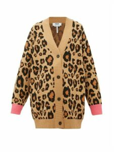MSGM - Oversized Leopard-jacquard Cotton-blend Cardigan - Womens - Beige Multi