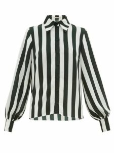 Emilia Wickstead - Pelia Striped Textured-crepe Blouse - Womens - Green White