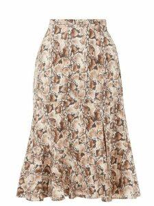 Altuzarra - Clementine Snake-print Silk Crepe De Chine Skirt - Womens - Ivory