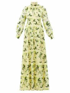 Erdem - Clementine Floral-embroidered Silk-organza Gown - Womens - Yellow