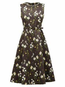 Erdem - Farrah Daffodil Ditsy-print Satin Dress - Womens - Black Print