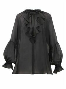 Etro - Camelia Ruffled Cotton-blend Voile Blouse - Womens - Black