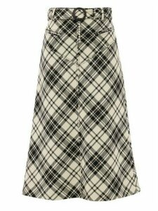 Ellery - Matango Crystal-belt Check Midi Skirt - Womens - White Print