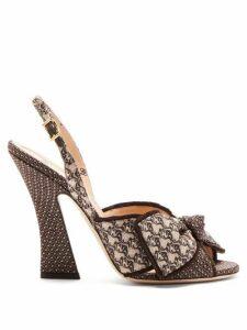 Fendi - Logo-jacquard Bow-tie Slingback Sandals - Womens - Black Multi